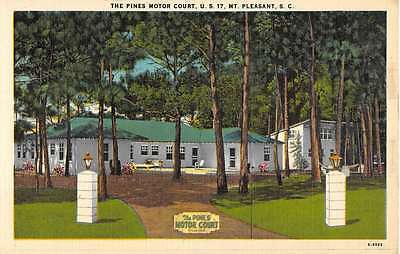 Mt Pleasant South Carolina Pines Motor Court Street View Antique Postcard K61409