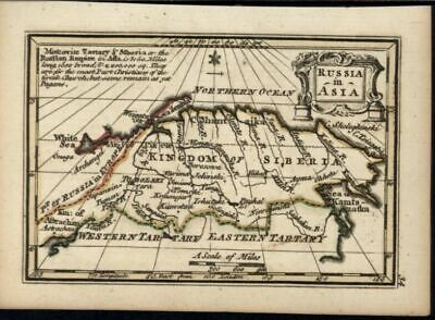 Russia in Asia Kingdom of Siberia 1758 by Bowen charming miniature antique map