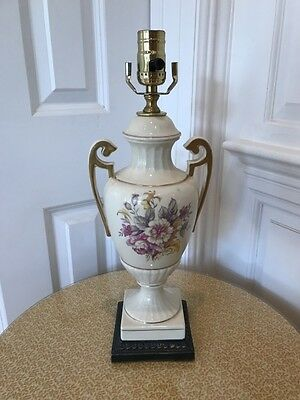 Attractive Old Floral Porcelain Handled Table Lamp with Gold Trim