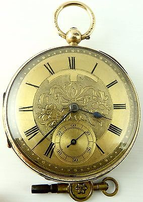 Antique 9ct gold dial fusee pocket watch Alexander London c1915  Working Order