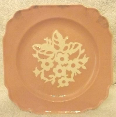 """VINTAGE GLASSWARE--HARKER POTTERY Co.--PINK CAMEOWARE 8 3/4"""" PLATE--GREAT PATINA"""