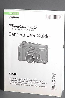 Canon Genuine PowerShot G5 Camera Instruction Book / Manual / User Guide