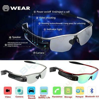 Smart Bluetooth Video Glasses 80.MP Camera Headset Handfree DVR For Android F1