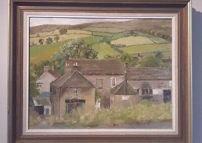 Lovely Original Oil Painting on Board Yorkshire dales Village farm Landscape