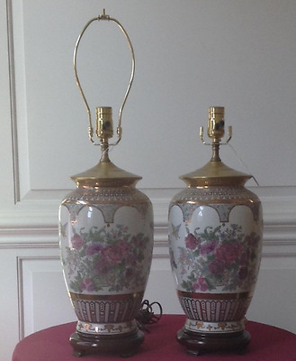 Old Matching Pair of Beautiful Floral Table Lamps