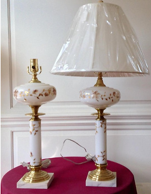 Marble Base Milk Glass with Gold Leaf Design. Very Old. Pair of Table Lamps