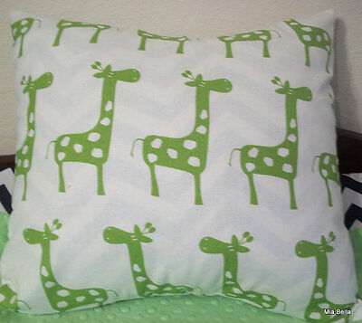 Lime Green Giraffe Decorative Pillow    Nursery / Kids  Choose Your Size