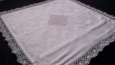 antique german pillow case with beautiful needle lace and lace flounces