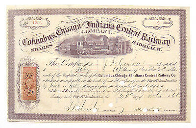 Columbus Chicago & Indiana Railroad Stock Certificate 1868 R44