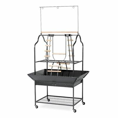 Prevue Pet Parrot Playstand with Pull-out Drawer Black Hammertone Finish