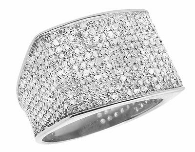 10K White Gold Men's Pave Eternity Genuine Diamond Pinky Ring Band 1.4 Ct 14MM
