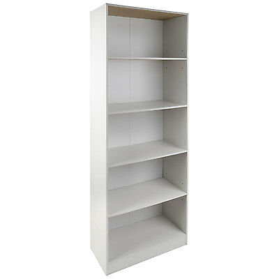 Christow 5 Shelf White Wooden Bookcase Storage Cube Unit (Small Markings)
