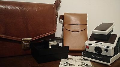 Vintage Polaroid SX-70 Land Camera with Leather Case and Flash - Tested