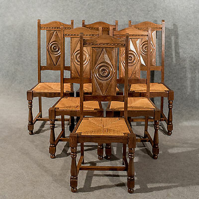 Antique Oak Set 6 Six Country Dining Kitchen Chairs Rush Seated Edwardian c1910