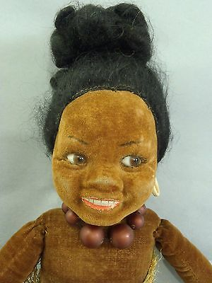 VERY EARLY 1920-1930s ANTIQUE NORAH WELLINGS BLACK ETHNIC CLOTH DOLL & GLASS EYE