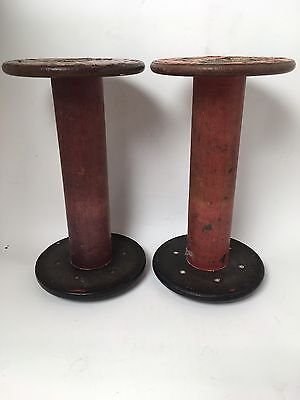 Textile Bobbins Spools Spindles Large Vintage Wooden Pair of Quills