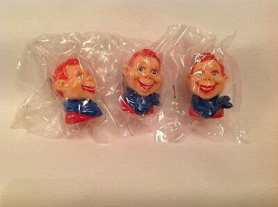 3 Vintage Howdy Doody Head Pencil Toppers NOS 1988