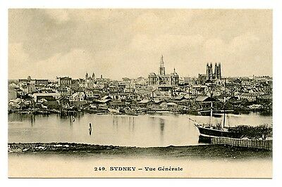 vintage postcard Sydney general view boats buildings Australia early 1900s