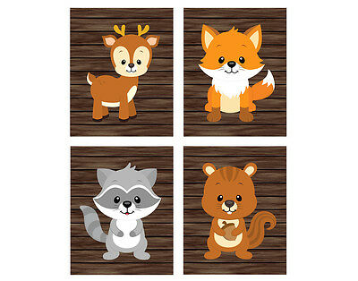 4 prints, art for kids, nursery  - forest animals fox, raccoon, deer, squirrel
