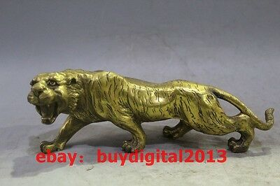"""11"""" Chinese Fengshui Copper brass Animal Zodiac Year Lucky Tiger Statue"""