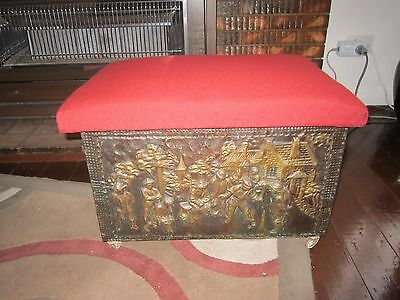 Antique Vintage Fire Place Wood Box With  Brass Village Scene.