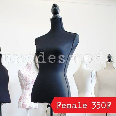 Wedding Dress Mannequin SIZE 8 Female Black Fabric Dressmakers Dummy Torso 350F