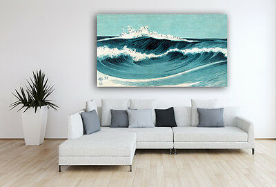 Dancing Waves Japanese Art Leinwandbild 126 x 70 cm Wandbild