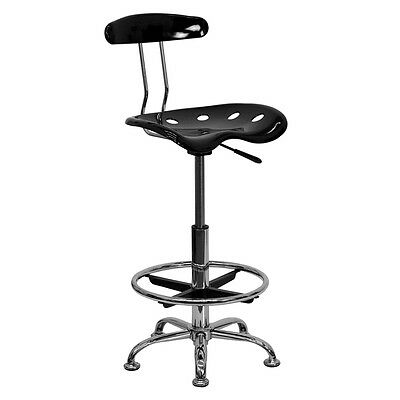 Drafting Stool Chrome Chair Adjustable Tractor Seat Vibrant Furniture Foot Ring