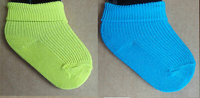 New Born Baby Boys Cotton Rich Plain knitted  socks /6-12m--2pairs only £0.99