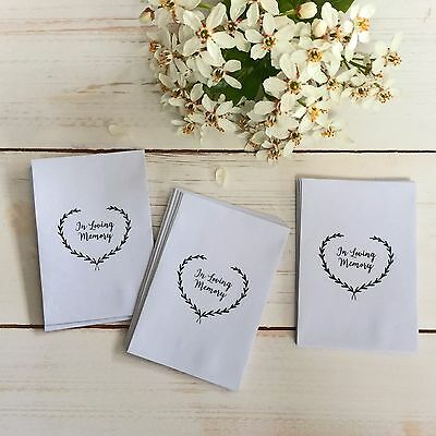 25 'In Loving Memory' Seed Packet Funeral Favour Envelopes - Remembrance