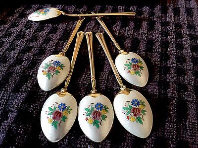 Delightful enamel And Silver Coffee Spoons Turner & Simpson, Set 6