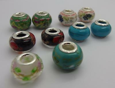 Mixed Job lot 10 x Stamped 925 Sterling Silver Charm Beads Jewellery Making #5