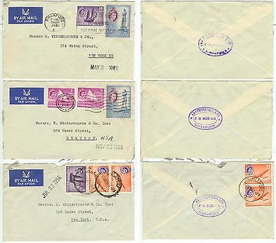 1955-56 Singapore Air Mail covers to New York
