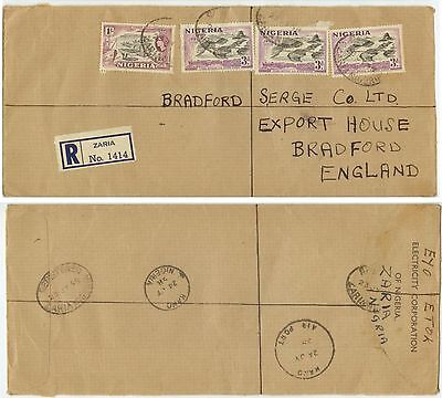 1958 Zaria Nigeria Registered cover to Bradford England