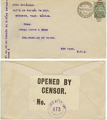 1918 WWI Mexico censored cover to New York