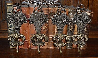 One Antique Large Brass Italian Double Wall Hook Basket of Flowers