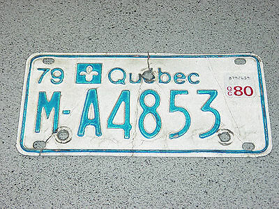 1979 1980 Quebec Canada Motorcycle License Plate M-A4853 Moto Motocyclette Bike