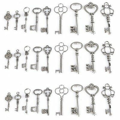 Lot of 45 Vintage Style SKELETON Keys Old Lock Charm Set 9 Styles Antique Silver