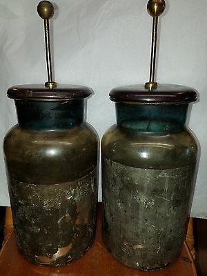 Antique Vintage Glass Lab Jars, Battery Electrolysis Glassware Science Equipment