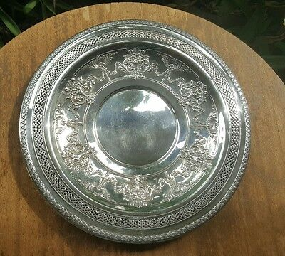 Vtg International Silver Plate Round Charger Reticulated Detail Mo. 4281 12in W