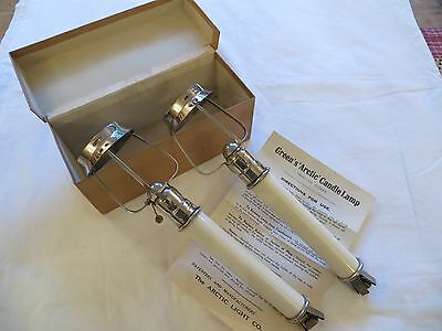 Pair Of Antique Boxed Complete Greens Arctic Candle Lamps