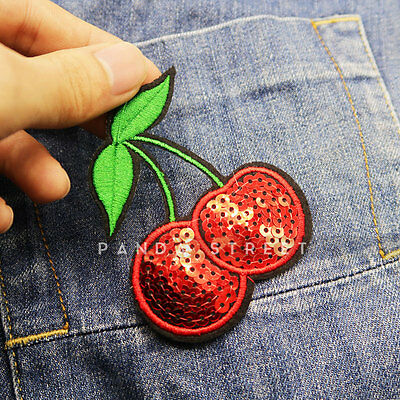 Cherry Sequins Embroidery Sew On Iron On Patch Badge Clothes Bag Fabric Applique