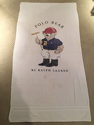 Vintage 90s *POLO RALPH LAUREN* Teddy Bear Beach Towel *RARE* 66x34