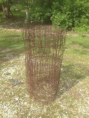 Vintage  Woven Wire round top garden fence gate trellis 20 ft roll x 3 ft