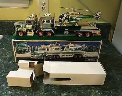 1995 Hess Truck Rare Chrome Truck & Helicopter - beautiful with box & inserts