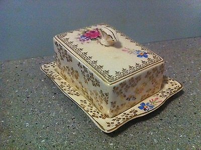 Old Vintage Ceramic  Butter Dish & Cover H & K Tunstall England Decorative