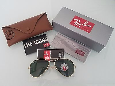 Ray Ban RB3025 001/58 Aviator Gold Frame Polarized Green 58mm Lens Sunglasses