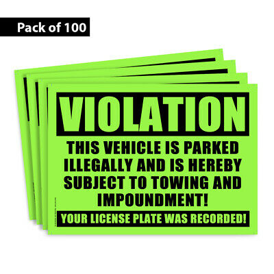 100 GLOSSY GREEN VIOLATION - NO PARKING - TOWING Sticker - No Parking stickers.