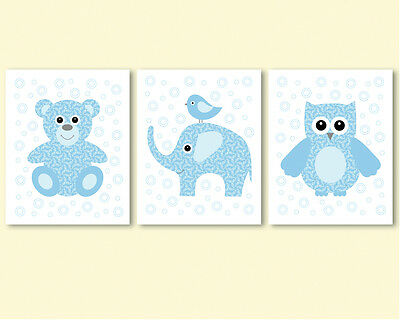 3 prints / posters for kids, baby boy nursery - blue teddy bear, elephant, owl
