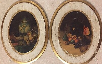Wall Plaques VTG ITALIAN ANTIQUED FLORENTINE Gold Gilt Flowers Italy Set Of 2